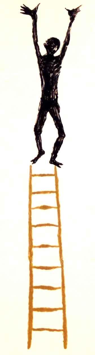 ein mann steht auf